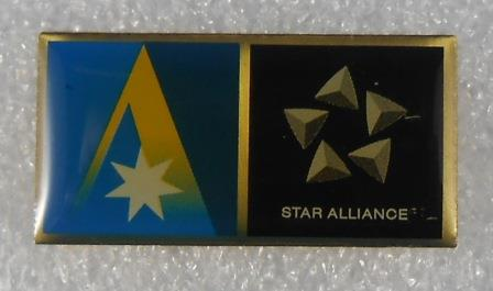 "LAPEL BADGE: ""ANSETT AUSTRALIA / STAR ALLIANCE"""