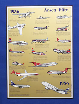 Ansett Fifty. AIRCRAFT POSTER (50th Anniversary 1936-1986)