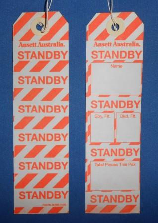Ansett Australia. STANDBY BAGGAGE TAG