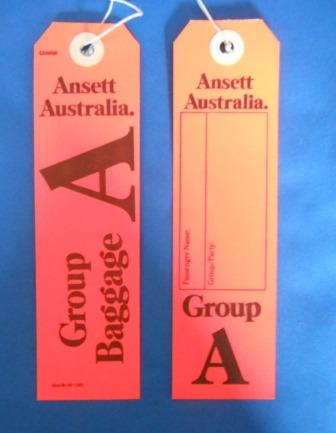 Ansett Australia. GROUP A BAGGAGE TAG