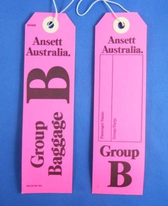 Ansett Australia. GROUP B BAGGAGE TAG