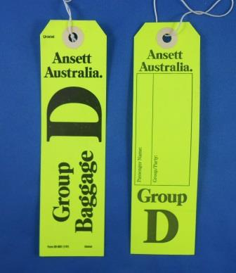 Ansett Australia. GROUP D BAGGAGE TAG