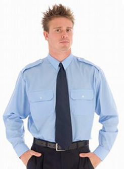 Blue Long Sleeve Epaulette Shirt