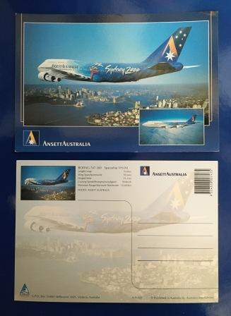 SYDNEY 2000 OLYMPIC GAMES B747-300 POSTCARD (View 1)