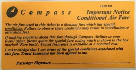 IMPORTANT NOTICE CONDITIONAL AIR FARE STICKER