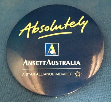 "BUTTON BADGE ""Absolutely"" ANSETT AUSTRALIA"