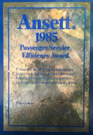 "Ansett.""1985 Passenger Service Efficiency Award."" - BRASS PLAQUE"