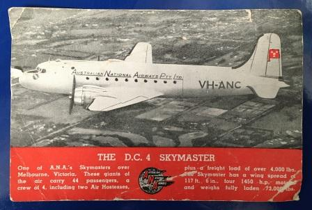 "ANA POSTCARD: ""The D.C. 4 Skymaster"""