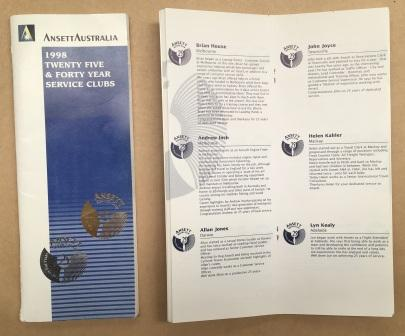 "BOOKLET: ""1998 Twenty Five & Forty Year Service Clubs"""