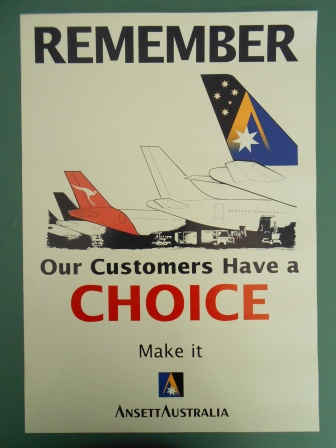 "ANSETT AUSTRALIA - ""Remember Our Customers Have a Choice Poster"""