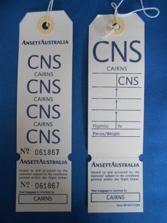 Ansett Australia. DESTINATION BAGGAGE TAG