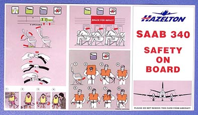 HAZELTON AIRLINES SAFETY CARD - SAAB 340
