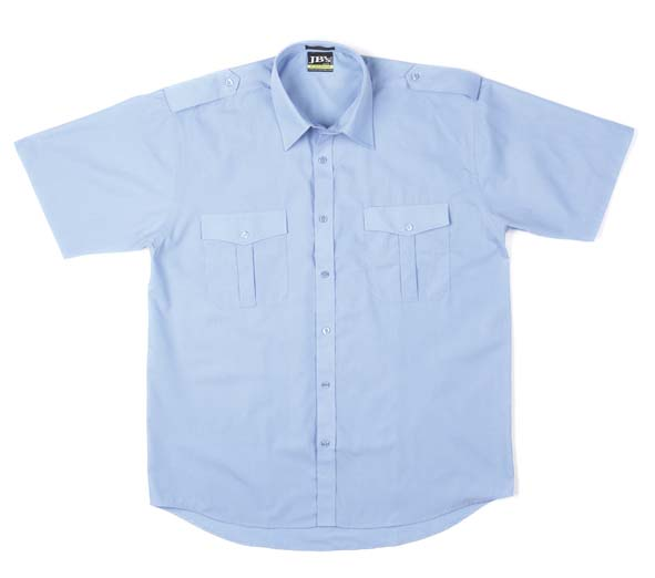 Blue Short Sleeve Epaulette Shirt