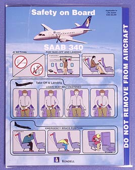KENDELL AIRLINES - SAFETY CARD SAAB 340