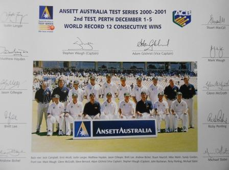 2000-2001 PERTH TEST TEAM PHOTO COLOURED PRINT
