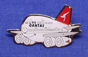 "QANTAS - ""HAPPY JUMBO"" LAPEL BADGE"
