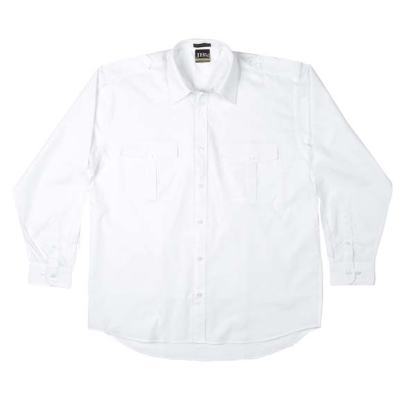 White Long Sleeve Epaulette Shirt